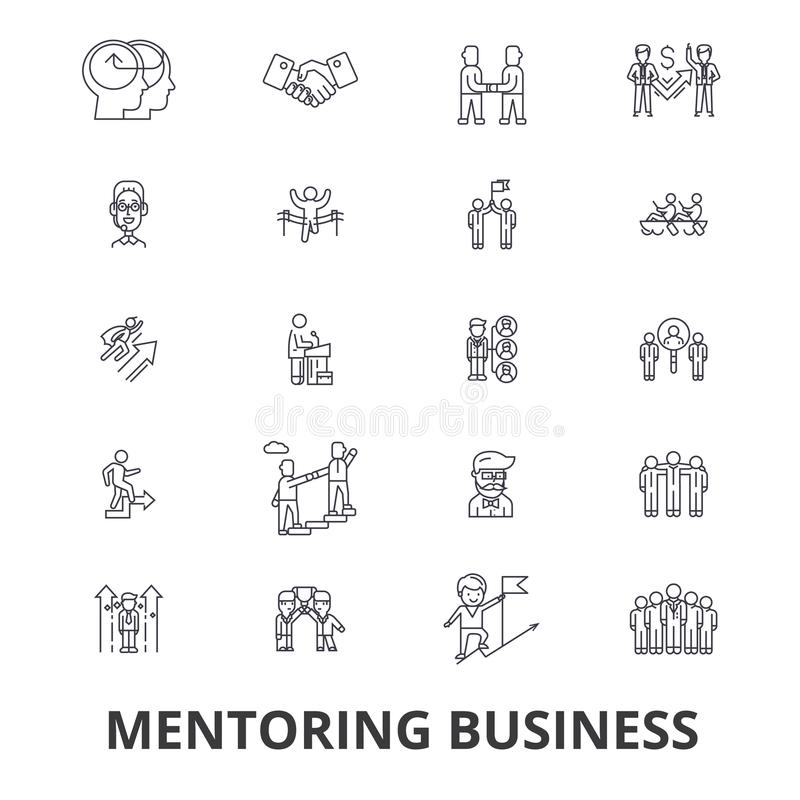 Affaires de tutelle, mentor, donnant des leçons particulières, conseils d'affaires, train, aide, ligne icônes de travail d'équipe illustration libre de droits
