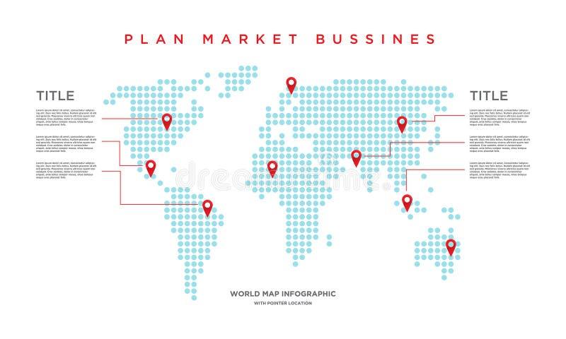 Affaires du marché de carte du monde infographic illustration stock