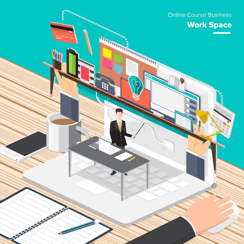 Affaires en ligne de cours illustration stock