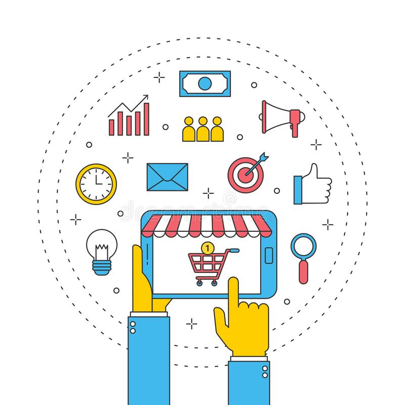 Affaires en ligne globales de magasin et icône de achat, message publicitaire d'Internet avec le comprimé d'ordinateur illustration libre de droits