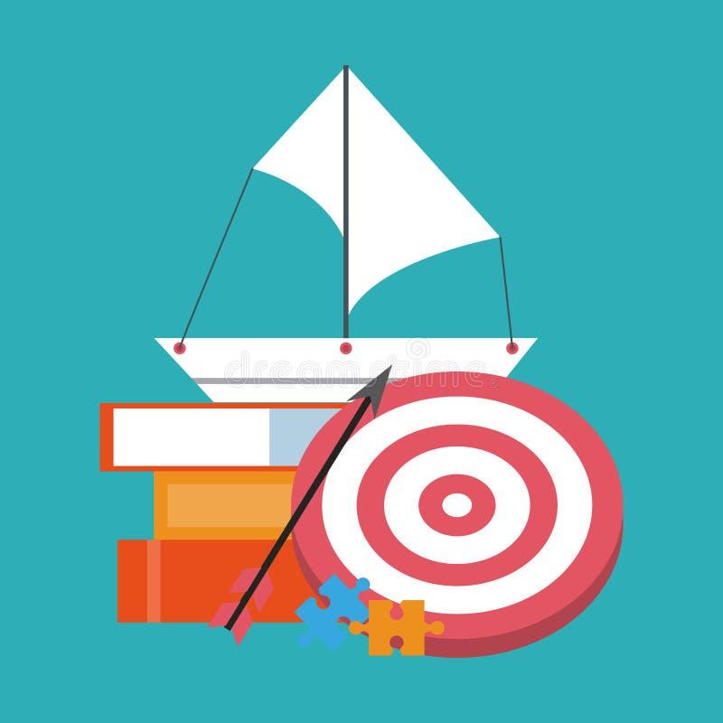 Affaires et éléments de fournitures de bureau illustration stock