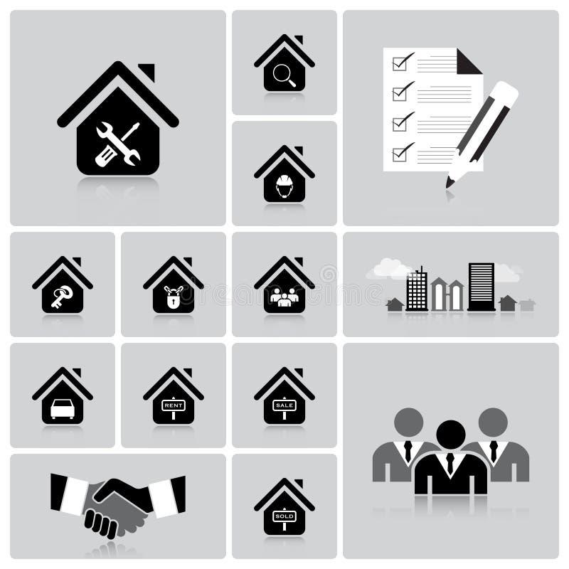 Affaires et ensemble d'icône de Real Estate illustration stock