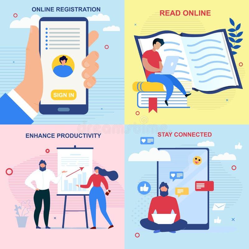 Affaires et ensemble mobile social de bannières d'application illustration libre de droits