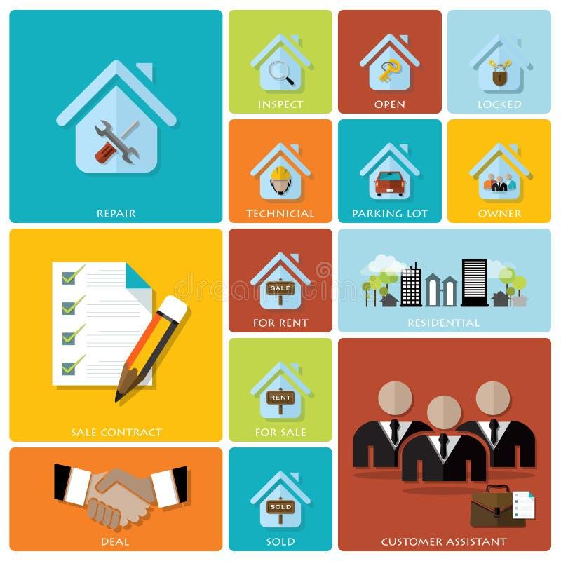 Affaires et ensemble plat d'icône de Real Estate illustration stock