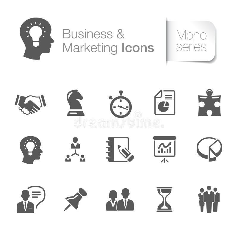 Affaires et icônes relatives de commercialisation illustration stock