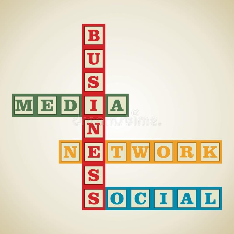 Affaires et mot social illustration stock