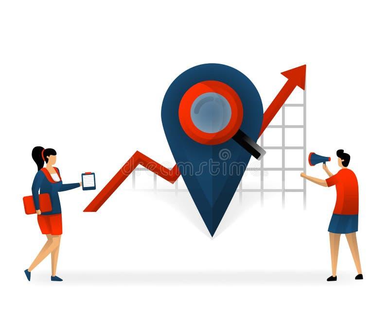 Affaires et promotion d'illustration de vecteur l'emplacement détermine le bon mot-clé déterminez les mots-clés basés sur l'empla illustration libre de droits
