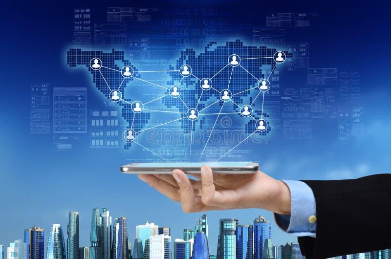 Affaires et réseau social image stock
