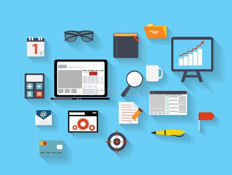 Affaires et vecteur plat Ilustration d'icônes de bureau illustration stock