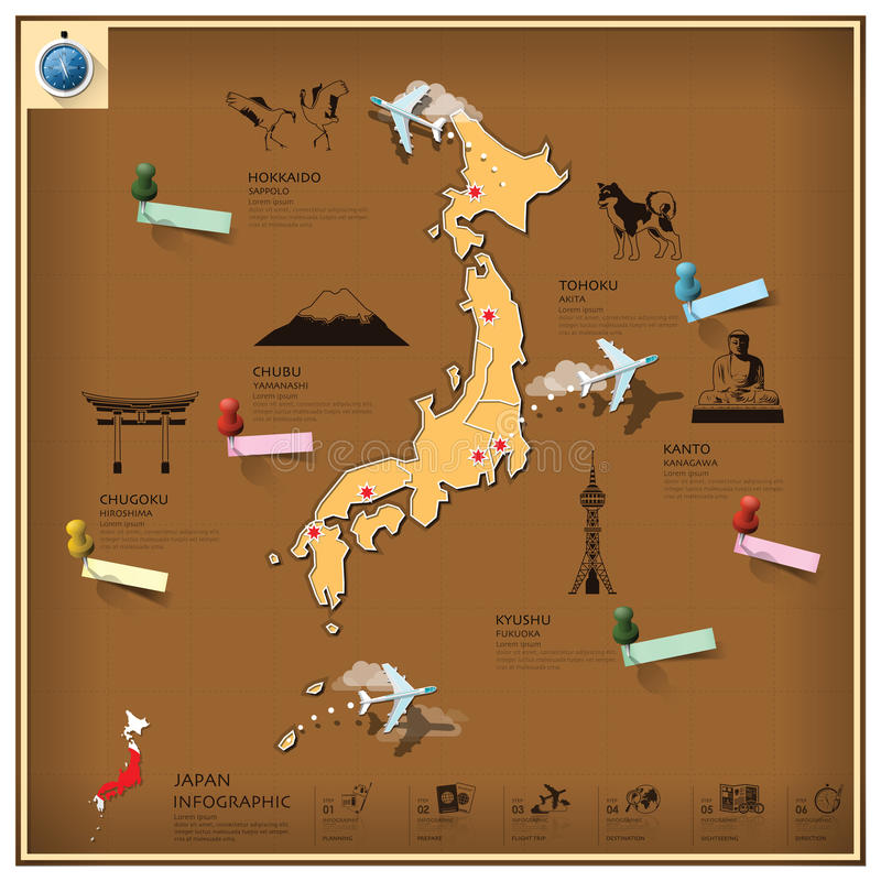 Affaires et voyage Infographic de point de repère du Japon illustration de vecteur