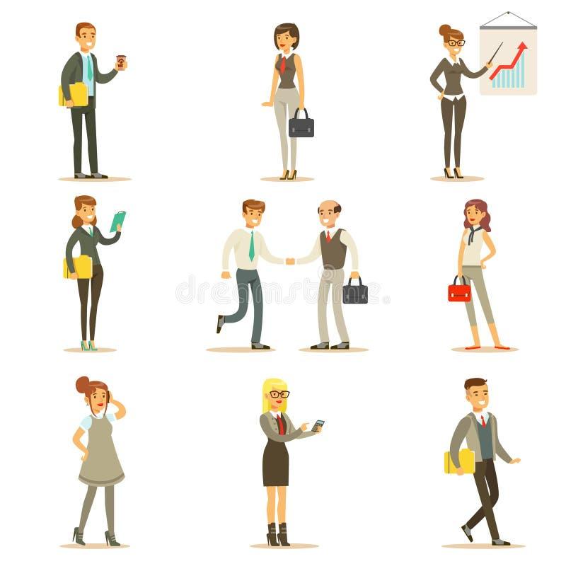 Affaires, finances et employés de bureau dans les costumes occupés à l'ensemble de travail illustration de vecteur