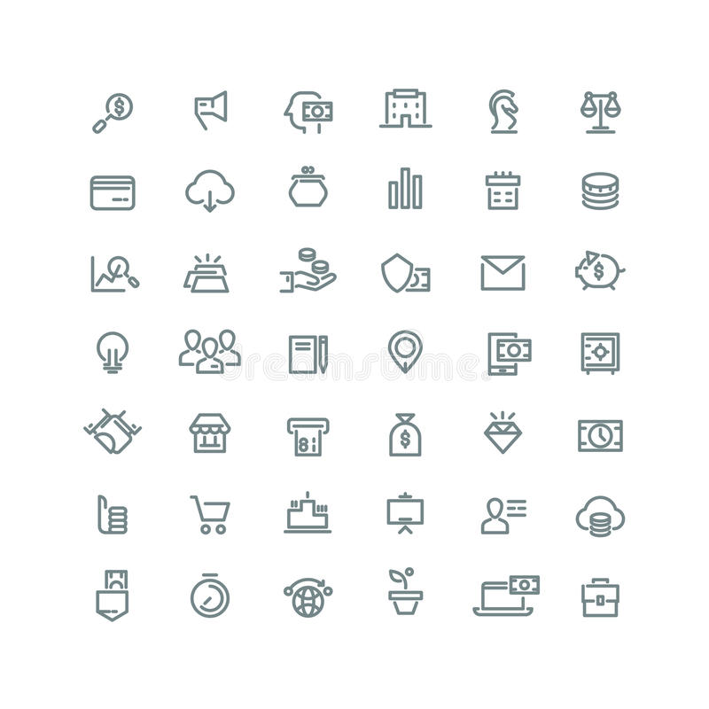 Affaires, finances, planification, analytics, opérations bancaires, ligne icônes de vecteur de vente de filiale réglées illustration de vecteur
