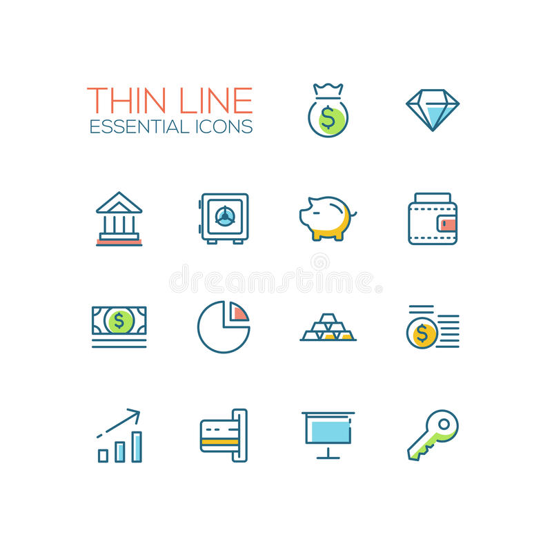 Affaires, finances, symboles - ligne épaisse icônes de conception réglées illustration libre de droits