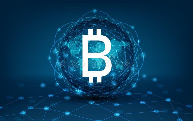 Affaires financières de devise de Digital de système de sécurité de carte du monde de chaîne de bloc de Bitcoin dans le monde en  illustration de vecteur