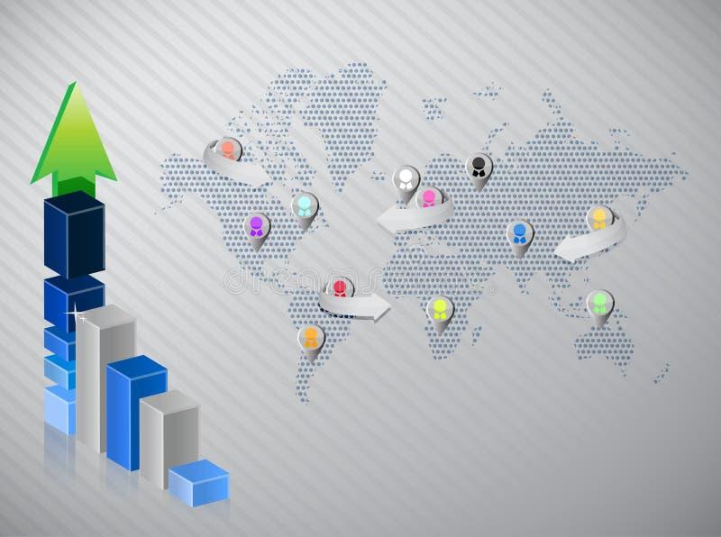 Affaires financières de stat de graphique de media social illustration libre de droits