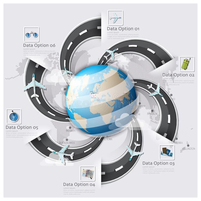 Affaires FNI de carte du monde de voyage et de voyage de piste de route et de rue illustration libre de droits