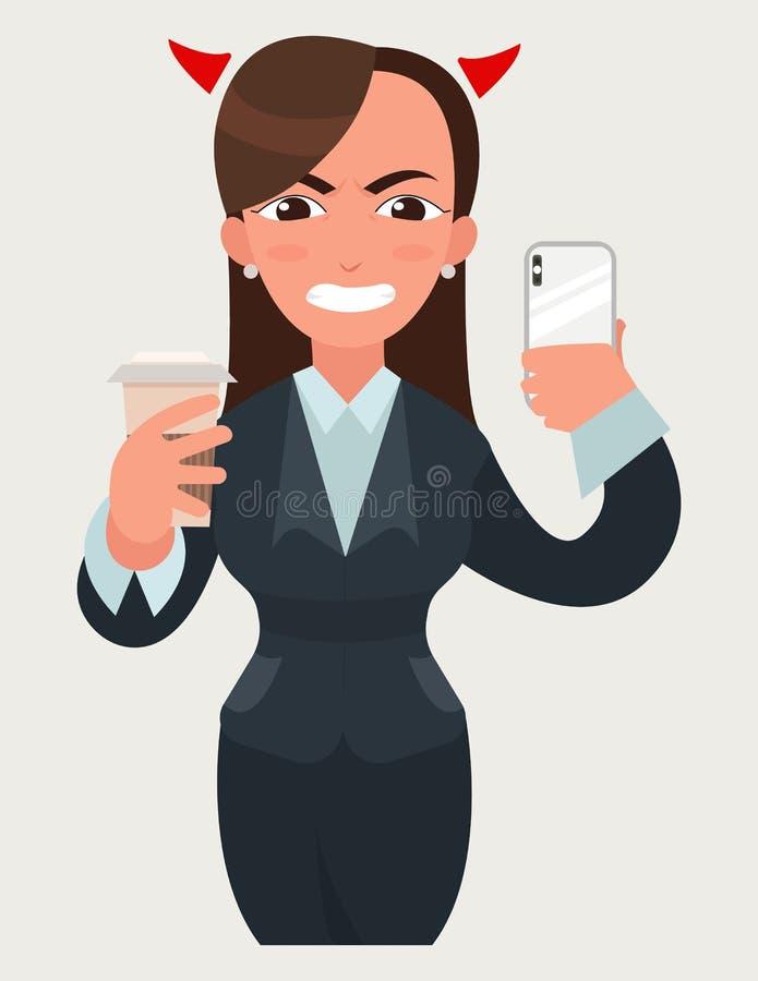 Affaires folles fâchées avec la femme de klaxons de diable avec une tasse de café et de smartphone Femme drôle de bande dessinée  illustration de vecteur