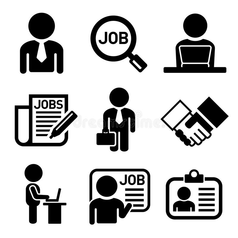 Affaires, gestion et humain Job Resources Icons illustration stock
