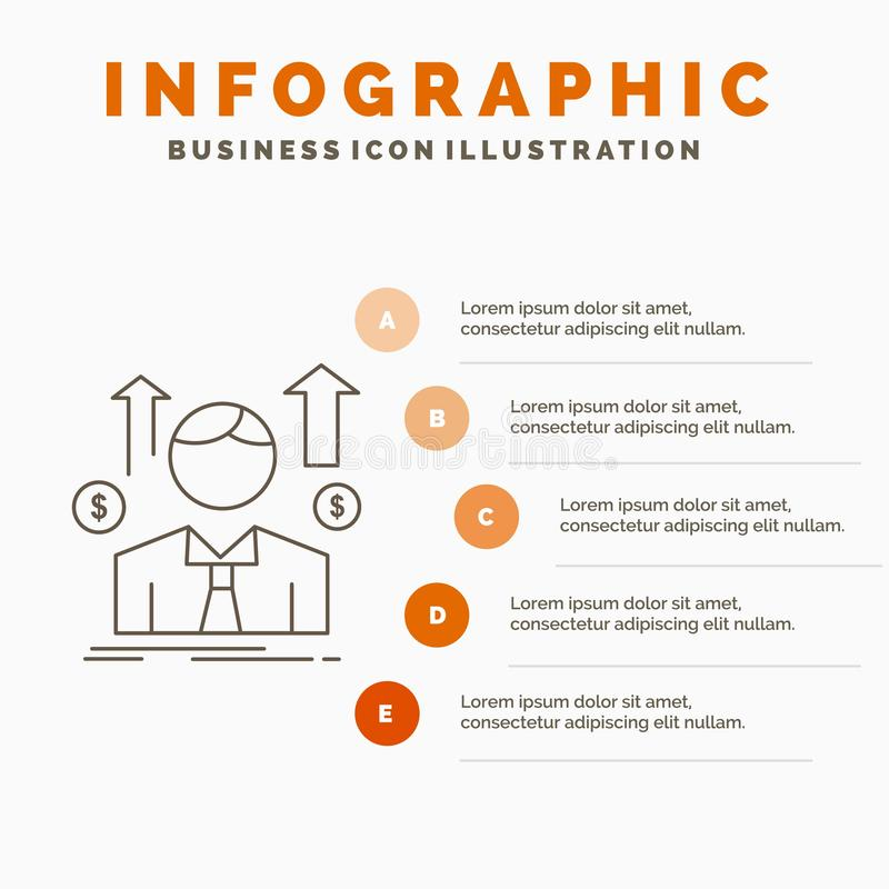 Affaires, homme, avatar, employ?, calibre d'Infographics d'homme de ventes pour le site Web et pr?sentation r illustration stock