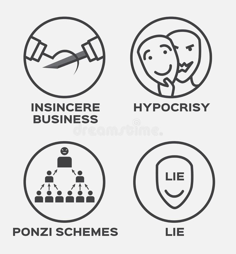 Affaires, hypocrisie, mensonge et icône pas sincères de gagnant Concept d'affaires illustration stock