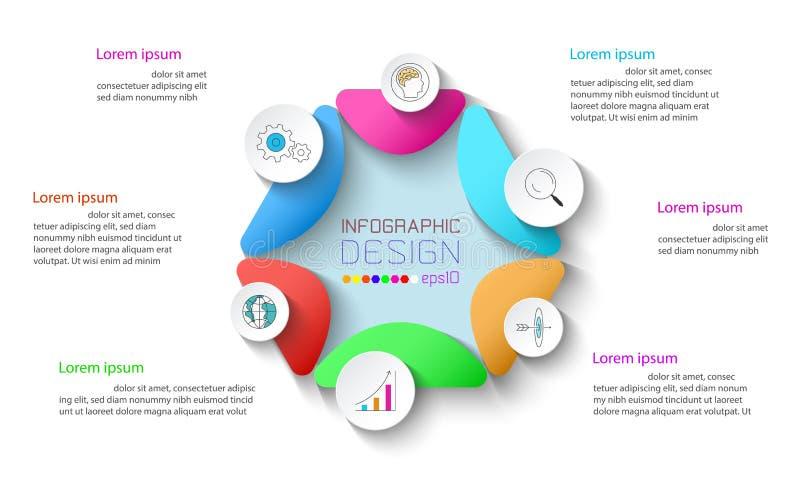 Affaires infographic avec 6 étapes illustration libre de droits