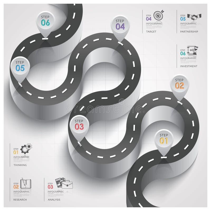 Affaires Infographic d'étape de courbe de poteau de signalisation de route et de rue illustration de vecteur