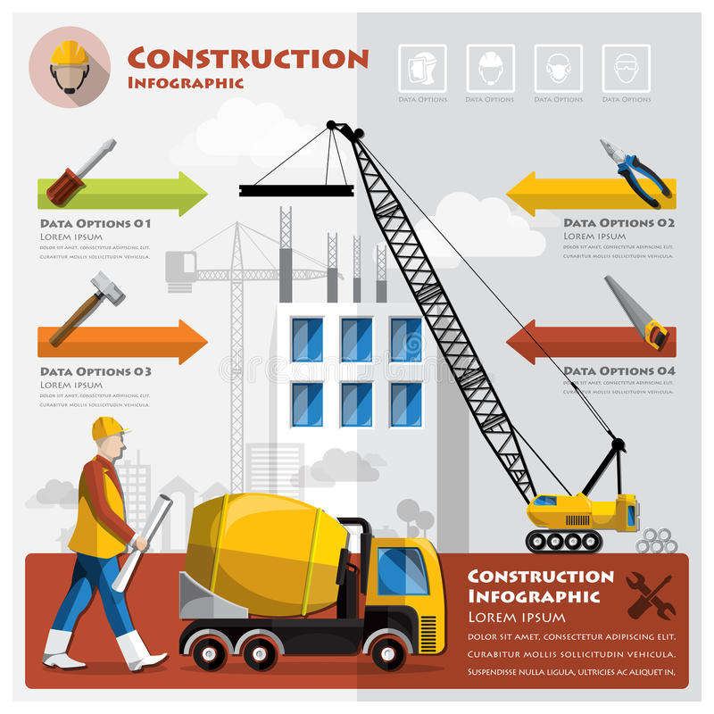 Affaires Infographic de construction et de bâtiment illustration stock