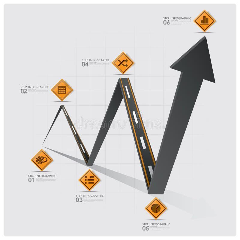 Affaires Infographic de graphe de poteau de signalisation de route et de rue illustration libre de droits