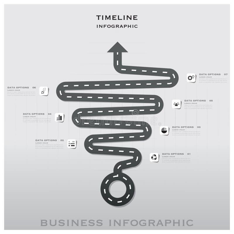 Affaires Infographic Desig de chronologie de poteau de signalisation de route et de rue illustration de vecteur