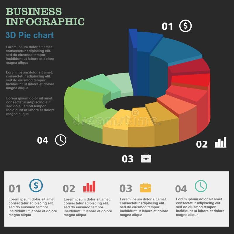 Affaires Infographic diagramme circulaire 3d Disposition pour vos options ou étapes illustration stock