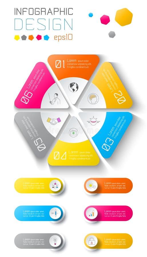 Affaires infographic sur le fond de carte du monde avec 6 labels sous le cercle d'hexagone illustration de vecteur