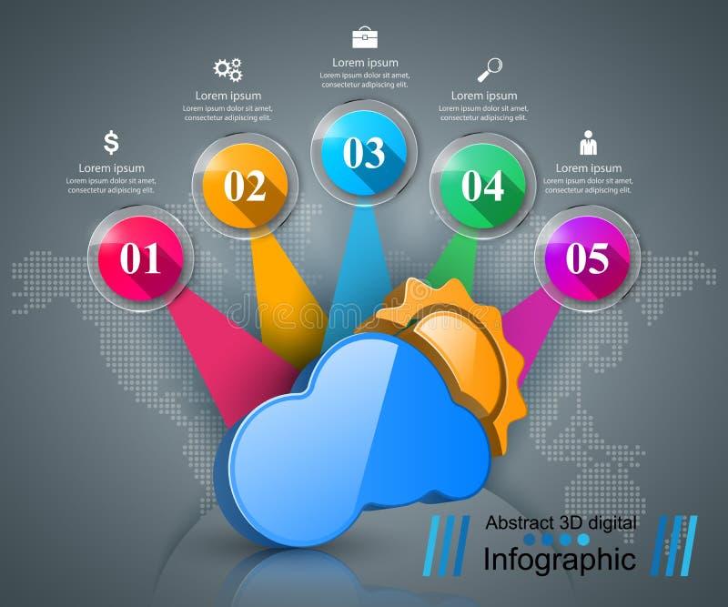 Affaires Infographics Sun, temps, icône de nuage illustration libre de droits