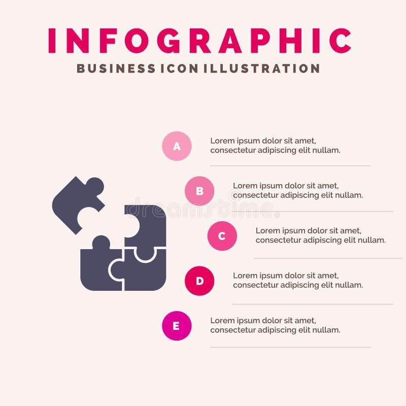 Affaires, jeu, logique, puzzle, fond solide de présentation d'étapes d'Infographics 5 d'icône de place illustration de vecteur