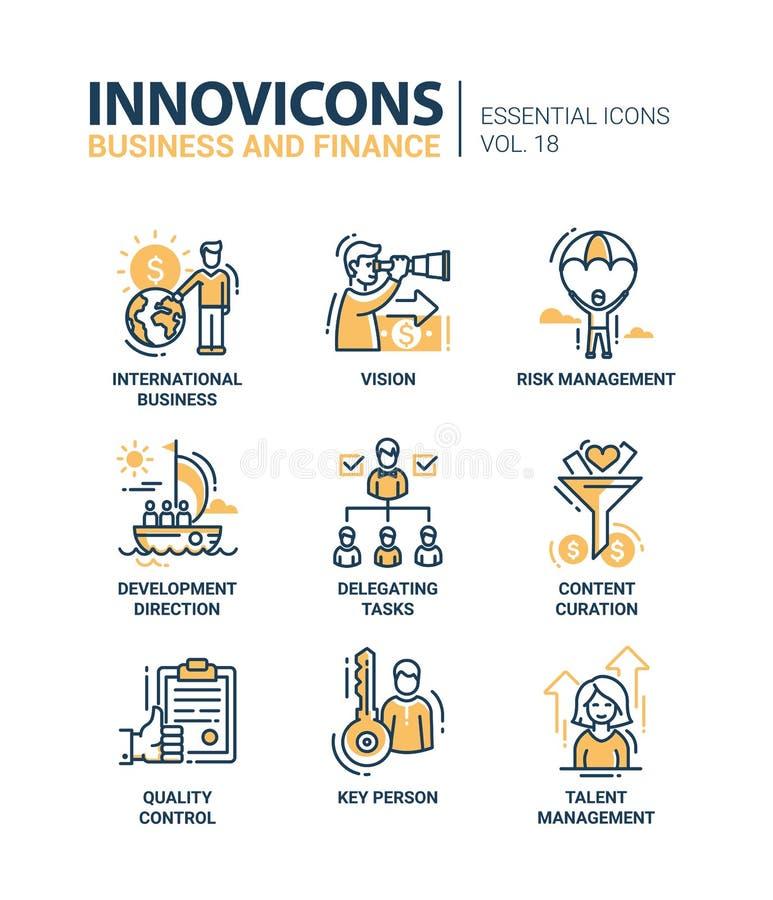 Affaires, ligne mince moderne icônes de finances de conception et pictogrammes illustration de vecteur