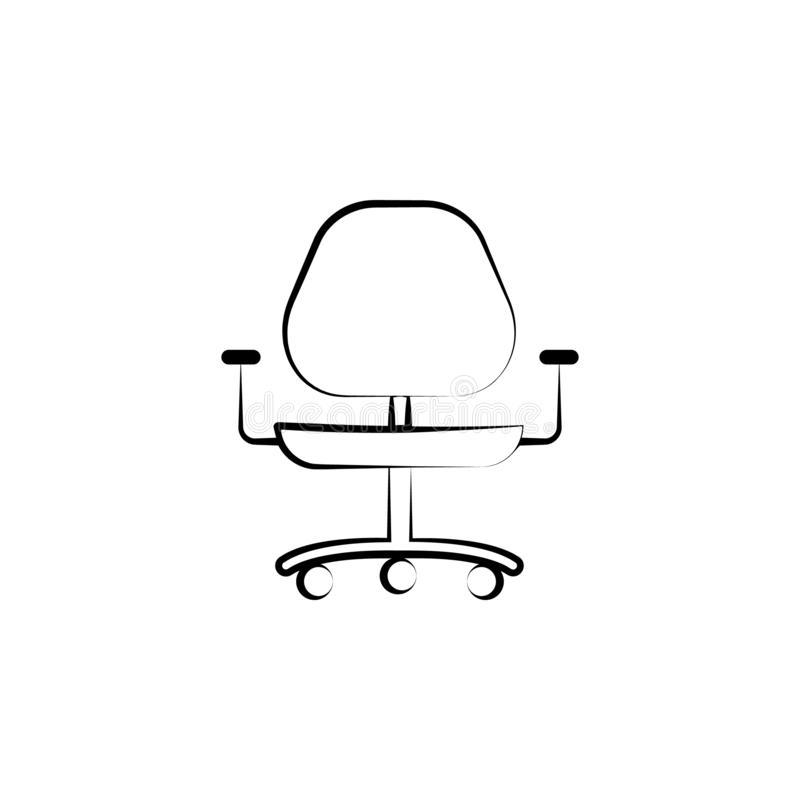 affaires, meubles, icône tirée par la main de chaise de bureau Conception de symbole d'ensemble d'ensemble d'affaires illustration stock