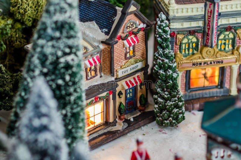 Affaires miniatures de temps de Noël de figurines image stock