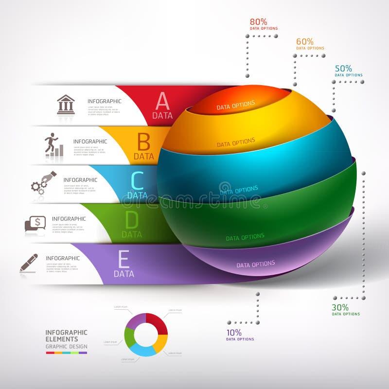 Affaires modernes de diagramme d'escalier de la boule 3d de cercle. illustration stock