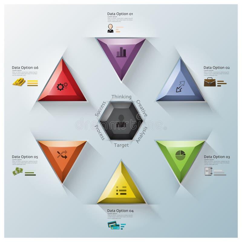 Affaires modernes Infographic de triangle et d'hexagone de fusion illustration libre de droits