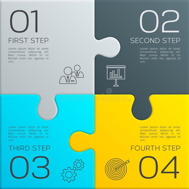 Affaires modernes infographic pour votre présentation Quatre étapes au succès changez le puzzle facile des parties eps8 de couleu illustration de vecteur
