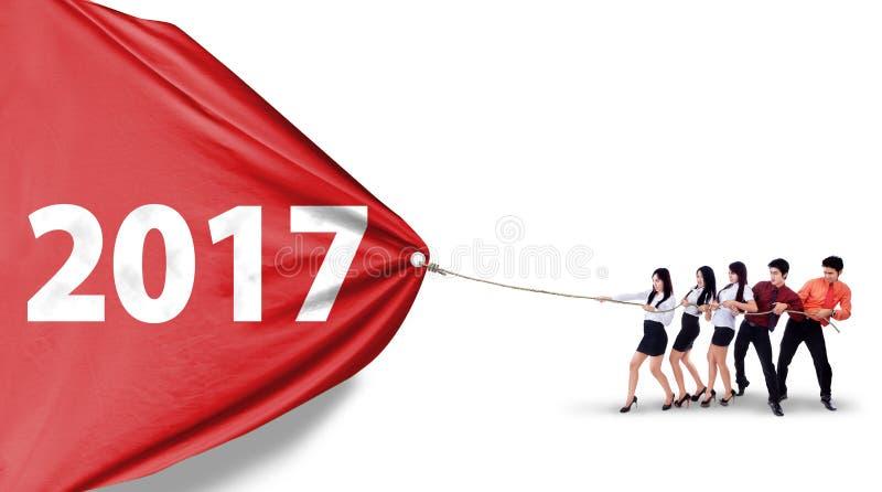 Affaires numéro de déplacement 2017 d'équipe images stock