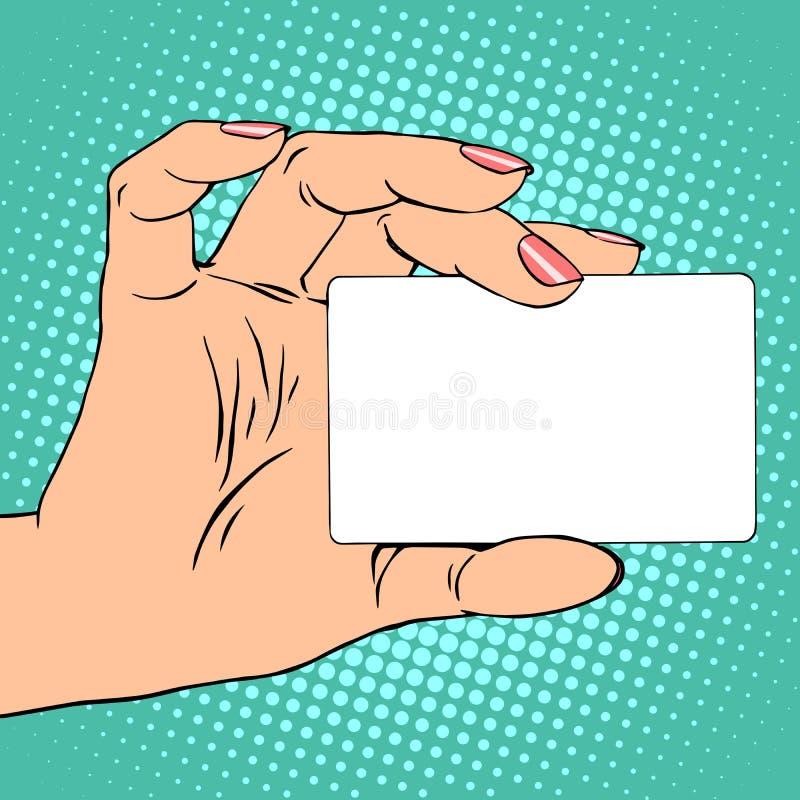 Affaires ou carte de crédit dans la main femelle illustration de vecteur