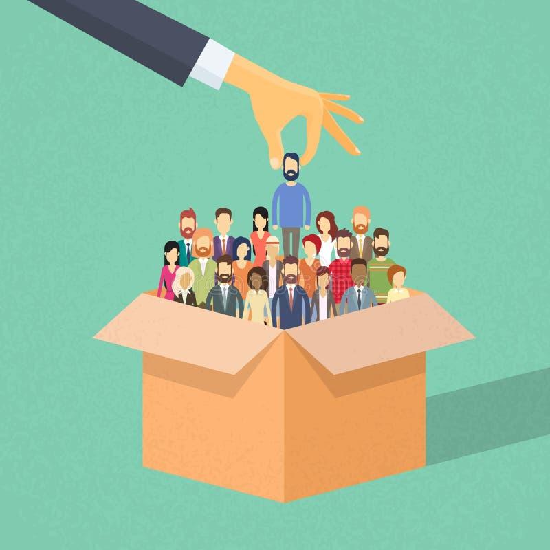 Affaires Person Candidate de cueillette de main de recrutement de boîte illustration stock