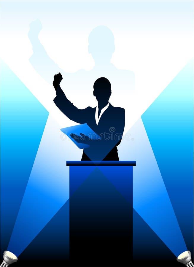 Affaires/silhouette politique de haut-parleur illustration de vecteur