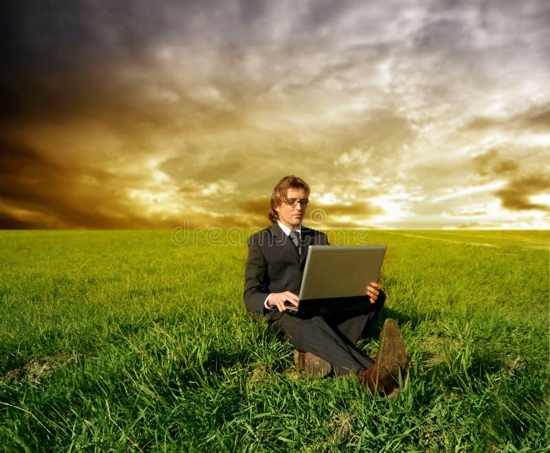 Affaires sur la zone d'herbe photo libre de droits