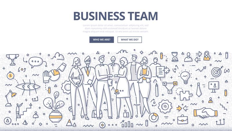 Affaires Team Doodle Concept illustration stock