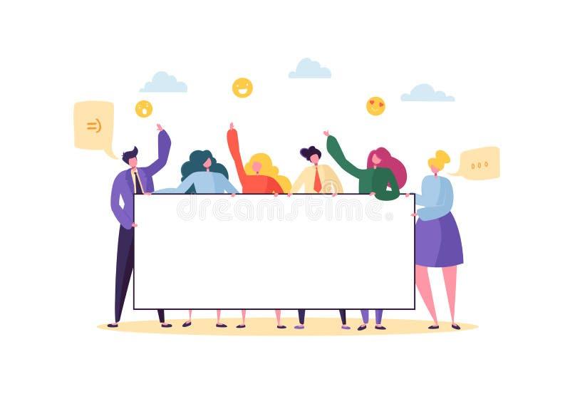 Affaires Team Holding Horizontal Empty Banner Personnes heureuses avec le panneau d'affichage vide Concept de la publicité de tra illustration de vecteur