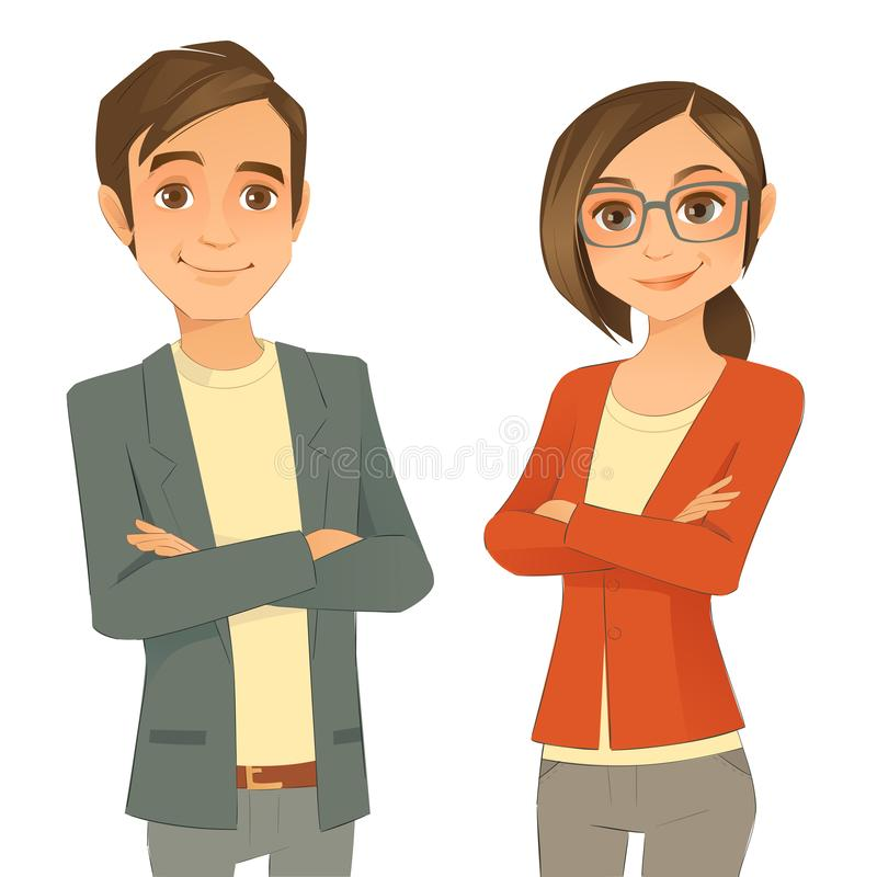 Affaires Team Young Man And Woman illustration de vecteur
