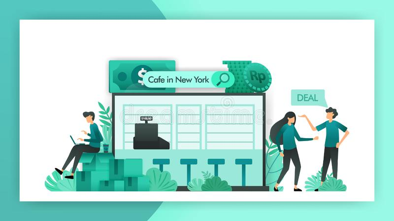 Affaires ? vendre en recherchant des entreprises de PME voulez se vendre café qui est négocié pour être acheté par des investisse illustration stock