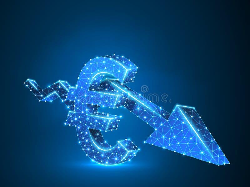 Affare basso di euro del grafico 3d della freccia di tendenza al ribasso cryptocurrency poligonale al neon di vettore poli, arres illustrazione di stock