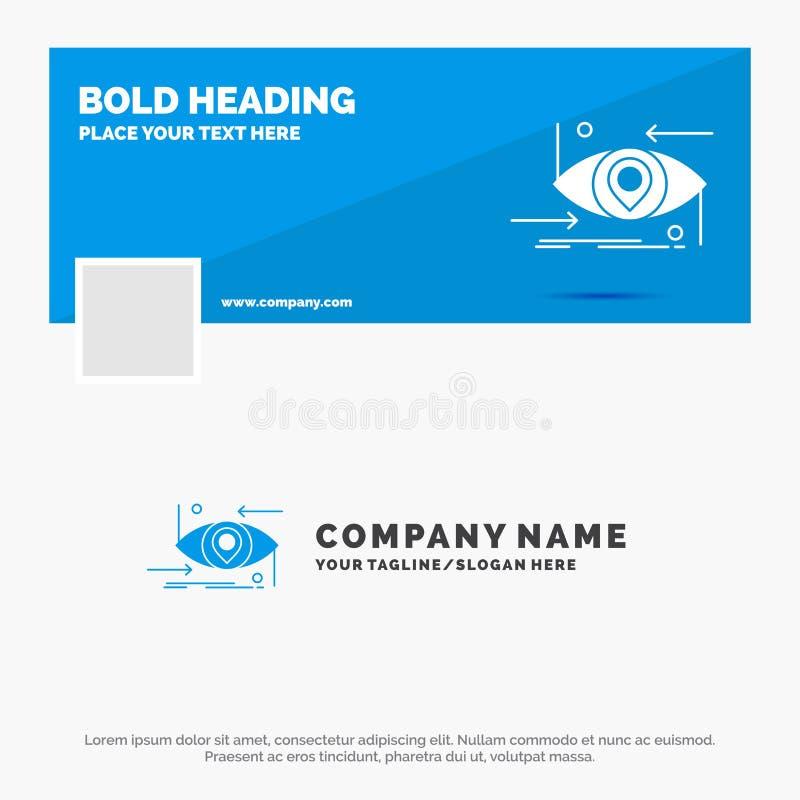Affare blu Logo Template per avanzato, futuro, GEN, scienza, tecnologia, occhio Progettazione dell'insegna di cronologia di Faceb illustrazione di stock